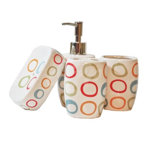 ست چهار تکه حمام و سرویس بهداشتی طرح دایره های رنگی