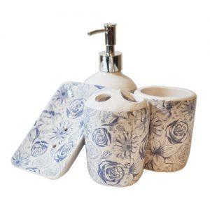 ست چهار تکه حمام و سرویس بهداشتی طرح گل رز آبی