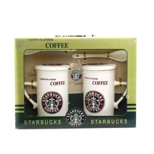 ماگ سرامیکی دوقلو استارباکس رنگ قهوه ای